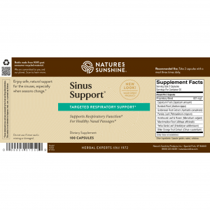 Natures Sunshine Sinus Support Label