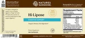 Nature's Sunshine Hi-Lipase Label