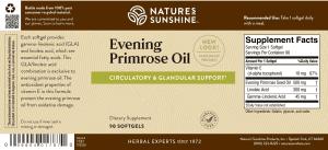 Nature's Sunshine Evening Primrose Oil Label