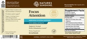 Nature's Sunshine Focus Attention Label