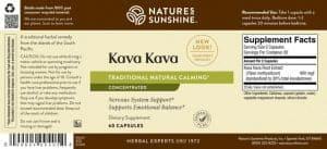 Nature's Sunshine Kava Kava Label