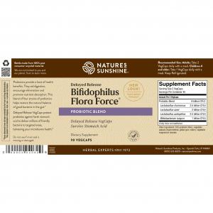 Natures Sunshine Bifidophilus Flora Force Label