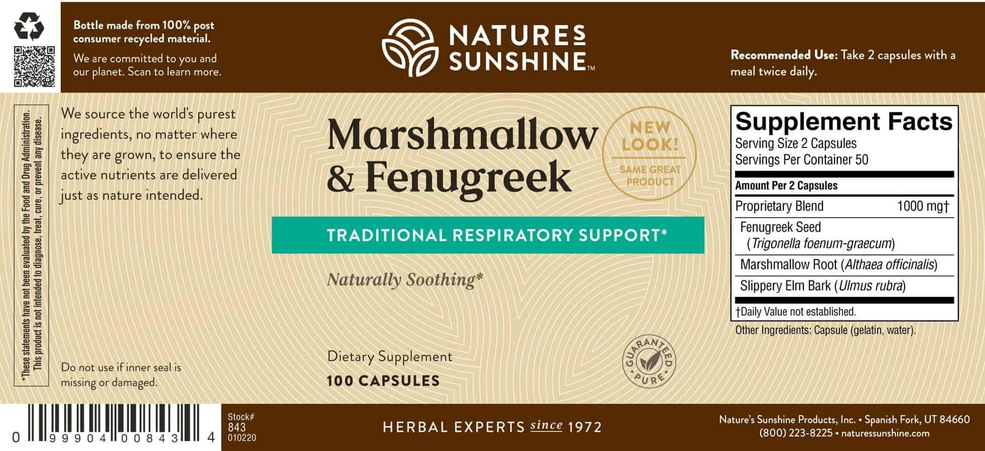 Natures Sunshine Marshmallow & Fenugreek