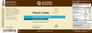 Nature's Sunshine Nutri-Calm Label