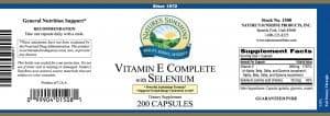 Nature's Sunshine vitamin e complete with selenium label