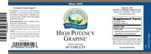 Nature's Sunshine high potency grapine label