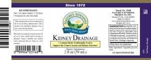 Nature's Sunshine Kidney Drainage label
