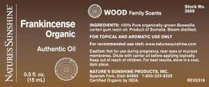 Nature's Sunshine Frankincense Label