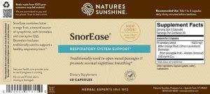 Nature's Sunshine SnorEase Label