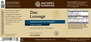 Nature's Sunshine Zinc Lozenge Label